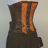 Custom Steampunk utility corset copper brocade by LillysWorkshop