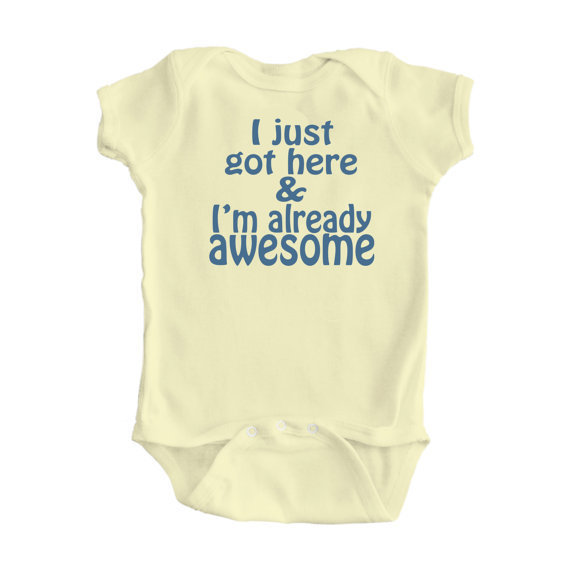 FREE SHIPPINGI'm already awesome Baby Bodysuit Size by apericots