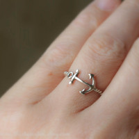 Anchor Stacking Ring Sterling Silver
