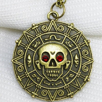 personalized, antiqued brass, Pirates of the Caribbean Aztec gold necklace, with red crystal