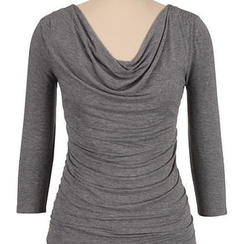 3/4 sleeve cinched side drape neck top