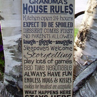 Grandma's House Rules Subway/ Word Art Sign