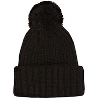 River Island Womens Black knitted rolled up beanie hat