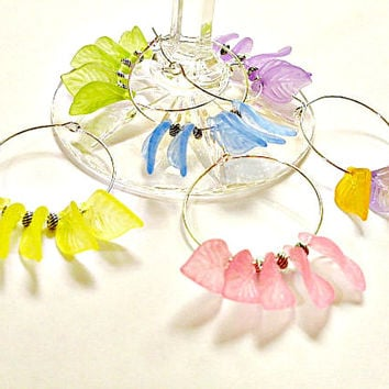 Acrylic Leaves Wine Charms Stemware Charms - Set of 6 - Housewarming Gift, Party, Entertaining