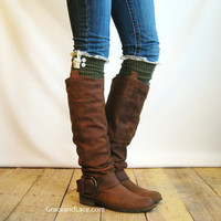 The Milly Lace - Army Green cable-knit Boot Socks with ivory knit lace trim &amp; buttons - lace socks (item no. 5-24)