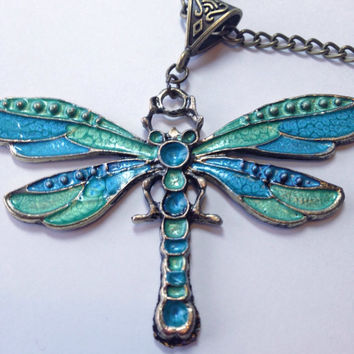 hand painted dragonfly pendant on long bronze chain necklace