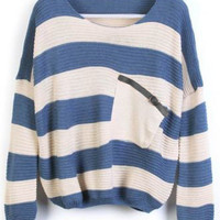 Blue Stripes Loose Sweater with Pocket - Sheinside.com
