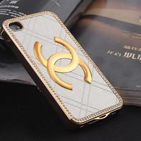 White Leather case with Metal CC Chanel for iPhone Case,Chanel iPhone 4 Case, Chanel iPhone 4S case
