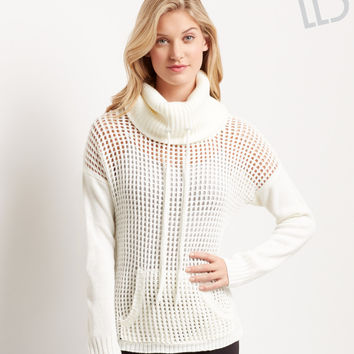 Aeropostale  LLD Sheer Honeycomb Funnel Neck Sweater