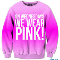 On Wednesday&#x27;s We Wear Pink Fresh Top Crew Neck | fresh-tops.com