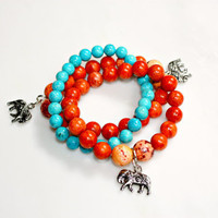 Lucky Elephant Bracelets - Set of Three Exotic Orange Sea Coral & Turquoise Blue Gemstone Beads by Mei Faith