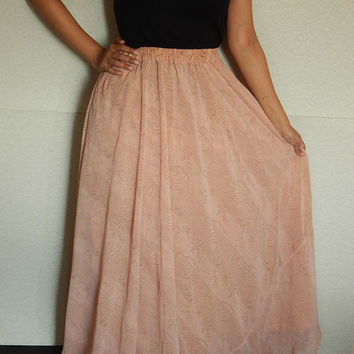 Maxi Skirt Gypsy Skirt Indian Skirt Peach Skirt