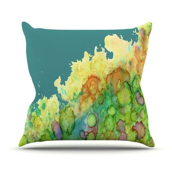 "Rosie Brown ""Sea Life II"" Teal Green Throw Pillow"