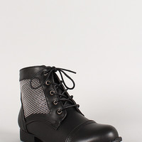 Studded Panel Lace Up Ankle Bootie