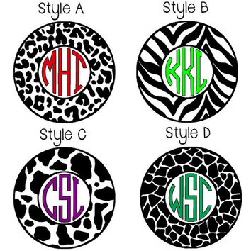 Animal Print Circle Monogram Decals