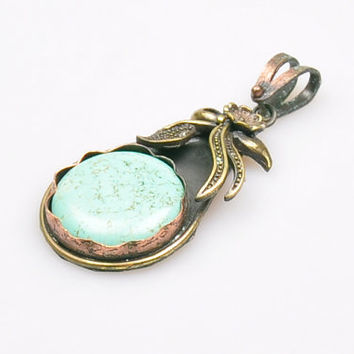 1 Piece Turquoise Stone Pendant on Rustic Copper Bezel, Natural Stone Pendant, Jewelry Findings, Bohemian Jewelry