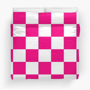 Pink And White Checkered Print