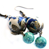 Asian Design Porcelain Earrings In .. on Luulla