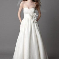 Pretty ball gown empire waist taffeta wedding dress style 0bg01061 - $335| wedding-dress-bee.com