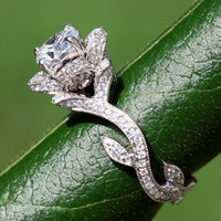 BLOOMING Work Of Art - Flower Rose  Lotus Diamond Engagement or Right Hand  Ring -  Milgrain - 1.50 carat - 14K white gold - brides - fL07