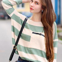 Ariadna Majewska in Green Stripes  Sweater$30.00