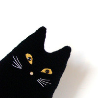 Black cat toy  pillow   - crochet cushion, pillow  - Stuffed