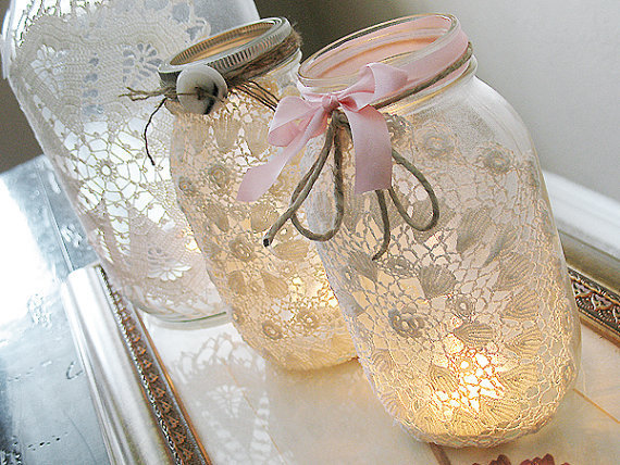 Vintage Lace  Mason Jar