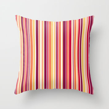 Candy Stripe Summer Throw Pillow by Alice Gosling