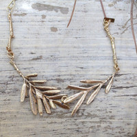 EVA gold brass leaves, eco-friendly necklace - natural - organic - gold - collar - metalwork - tree leaves - hand made - art jewelry - mai