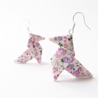 Mauve Origami earrings Liberty floral cotton OOAK by Jye, Hand-made in France