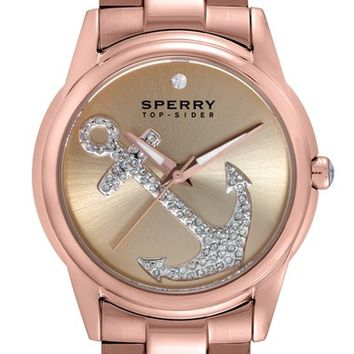 Women's Sperry Top-Sider 'Audrey' Pave Anchor Bracelet Watch, 38mm - Rose Gold/ Cream