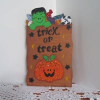 Halloween Trick or Treat Bag Wood Painted Shelf Sitter
