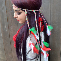 Holiday Feather Headband - Christmas Feather Headband - Red White Green Feathers - Hippie - Festivals - Raves - Flags