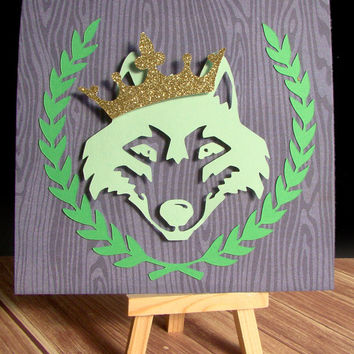 The Wolf King 3D Cutout Print // Original 6x6 Print for Home, Dorm, or Office Decor and Gifts
