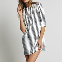 Free People Womens Striped Knit Boatneck Dress - Black / White