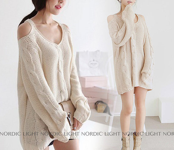 3 COLORS Autumn Strapless  Loose Sweater