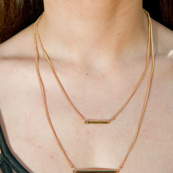 Gold Bar Dainty Double Necklace – Gold Soul