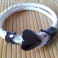White Leather Woven with Metal Heart Buckle Women Leather Jewelry Bangle Cuff Bracelet 1298A