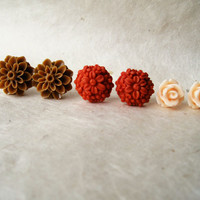 Autumn Stud Earrings. Burnt Orange, Brown and Peach Flower Post Earrings. Hypoallergenic for Sensitive Ears. Fall Fashion. FSE3.