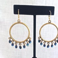Large Gold Hoop Earrings with Beads, Navy Blue Beaded Brass Hoop, Boho Jewelry, Gold Gypsy Hoop, Blue Glass, 625