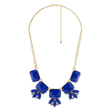 Faceted Stone Statement Necklace by Charlotte Russe - Cobalt