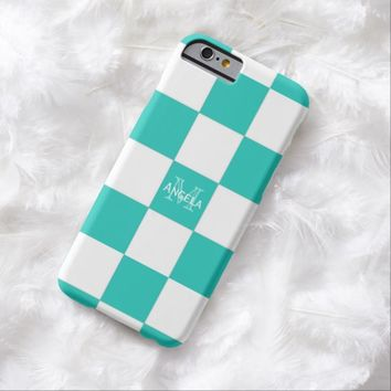 Cyan And White Checkered Case