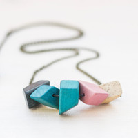 Geometric necklace, Wood necklace, Long necklace, Minimalist jewelry, Eco friendly, Handpainted jewelry, Blue and gray necklace, Pink, White