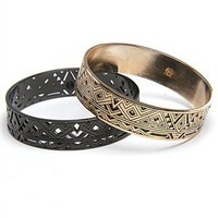 House of Harlow 14 kt Gold Engraved Bangle and Gunmetal Plated Punched Out Bangle Set