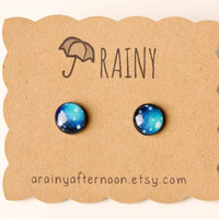 Teal Galaxy Post Earrings