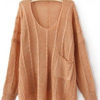 Light Peach Long Sleeve Drop Shoulder Cable Pocket High Low Jumper - Sheinside.com