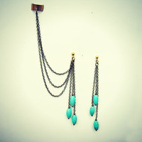 ear cuff with turquoise earrings, ear cuff with chains, chains ear cuff, turquoise earrings