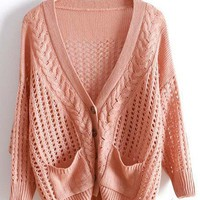 Pink V Neck Long Sleeve Hollow Pockets Sweater - Sheinside.com