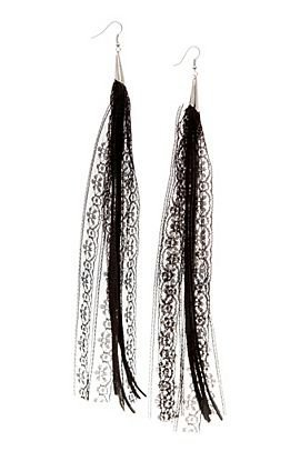 Black Leather And Lace Dangle Earrings - 163950