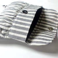Grey and White Stripe Pleated Pouch, Wristlet Clutch, Linen Purse with White Beaded Flower